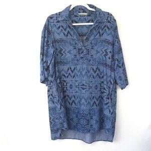 Soft Surroundings Aztec Chambray Tunic Shirt Dress